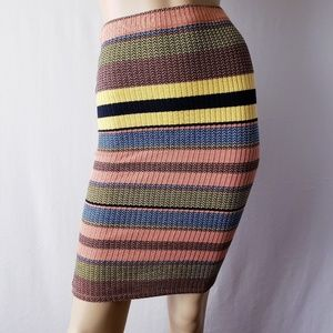 Topshop Multicolored Striped Bodycon Skirt